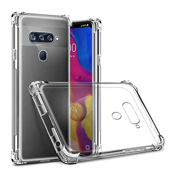 LG V40 Case,LG V40 Thinq Case,LG V40 Case Clear,LG V40 Thinq Case  Clear,ComoUSA Slim Clear Soft Reinforced Corners TPU Cover for LG V40/LG  V40 Thinq