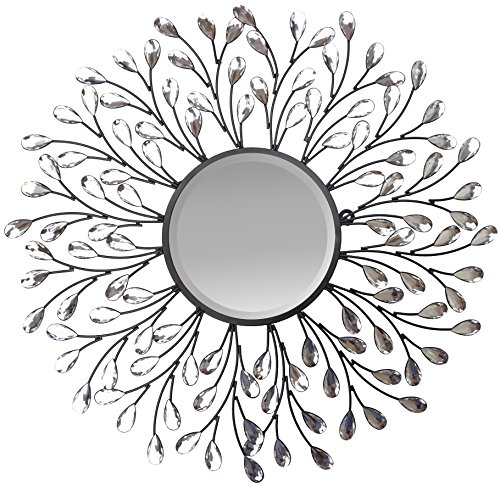 Cheap LuLu Decor, Decorative Crystal Metal Vine Wall Mirror, beveled mirror, Frame measures 24″, mirror measures 11″, Perfect for housewarming gift (L72MC)