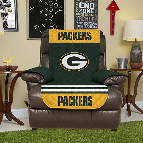 NFL Green Bay Packers Recliner Reversible Furniture Protector with Elastic Straps, 80-inches by 65-inches