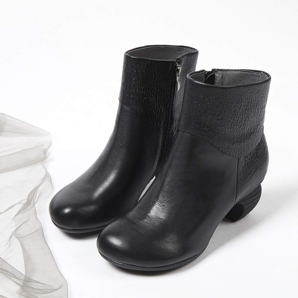 Cotton Boots. Plush mid-Tube Warm Non-Slip Womens Boots XLY Womens Winter Leather Martin Boots