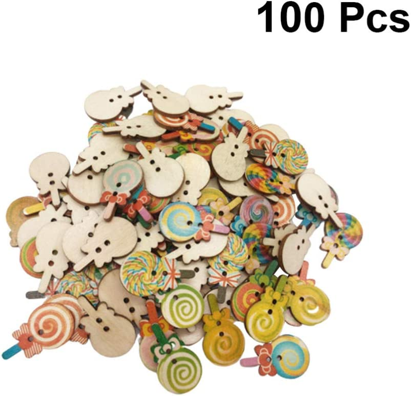 100Pcs Painted Colors Lollipop DIY Wooden Buttons for Sewing and Crafting