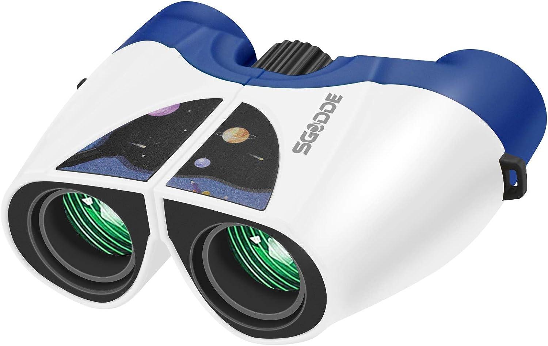 SGODDE 10x22 Prismaticos, Prismaticos Niños, Prismaticos Profesionales Impermeable,Anti-Golpes,Mini Prismáticos Binoculares Portátiles de HD de Alta, para Niños/Adultos/Birding/Viaje/Navidad Regalo