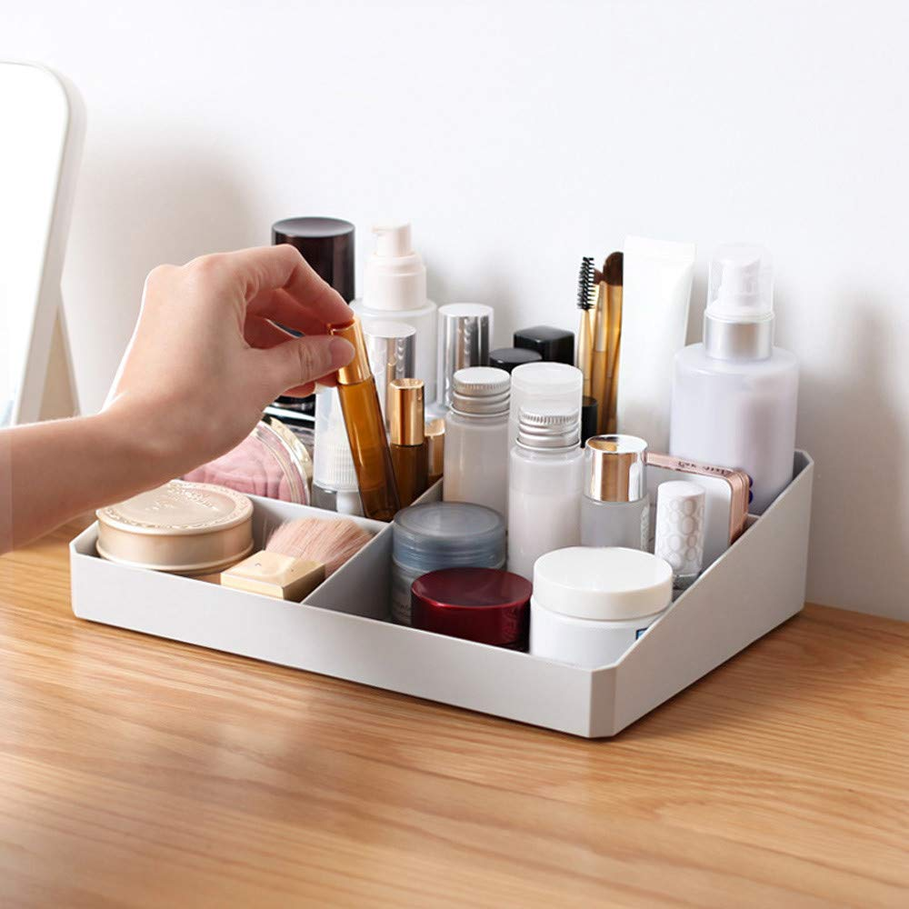 Makeup Organizer Tray 9 Compartment Cosmetic Holder Plastic Desktop Organizer for Dresser Countertop Makeup Brushes Lipstick Perfume (grey)