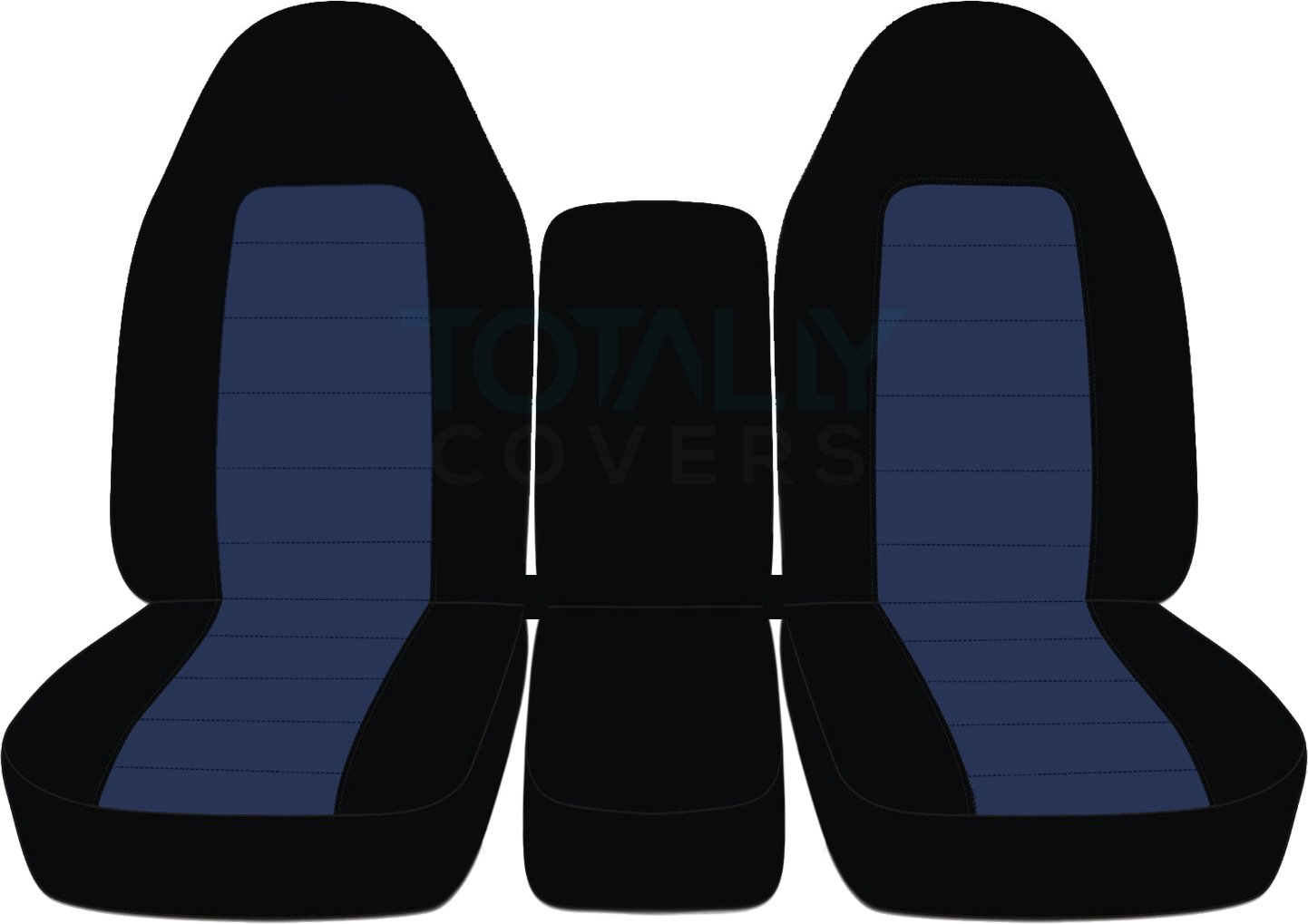 1994-2002 (2nd Gen) Dodge Ram Two-Tone Truck Seat Covers (40/20/40 Split Bench) w Center Console - Front: Black & Charcoal (21 Colors) 1995 1996 1997 1998 1999 2000 2001 w/wo Integrated Belts Designcovers