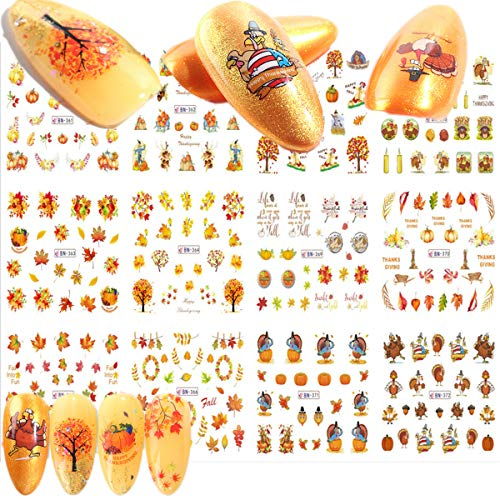 Fall Nail Art Stickers Water Transfer Nail Decals Thanksgiving Nail Decals Stickers Self-adhesive Tip and Water Transfer Set - DIY Nail Art Decoration Manicure Tips Charms Design Turkey Autumn Maple F