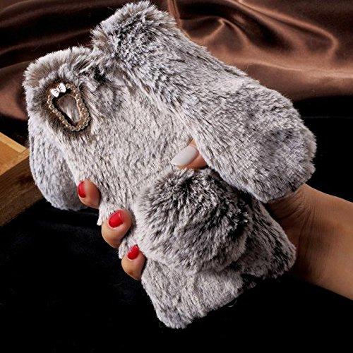 Conejo caliente suave conejito TPU piel cubierta de la caja del teléfono trasero del bolso para Sony Xperia XA brown