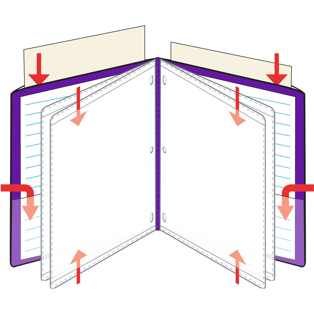 StoreSMART - 9 1/4'' x 11 3/4'' Multi-Pocket Folder - Metallic Purple - Four-Page - 50 Pack - ZR8006-MP-50