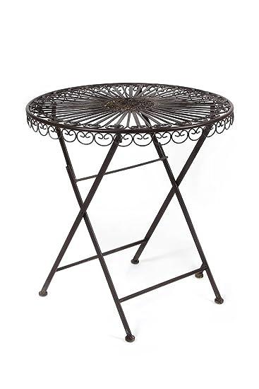 Amazon De Gartentisch Luni Dunkelbraun Antik Rund Eisentisch Tisch