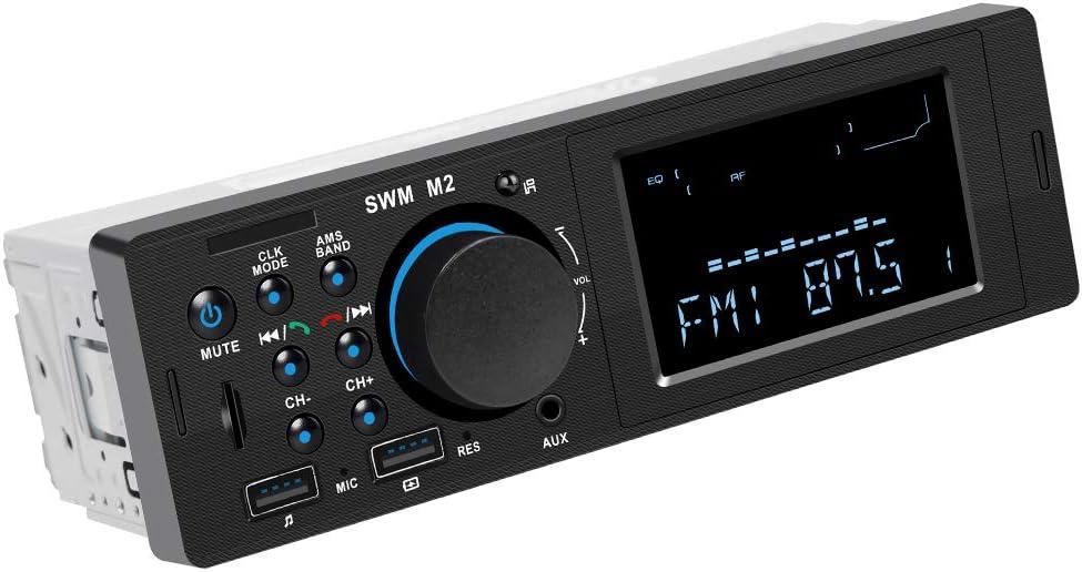 Radio de Coche, RIXOW Autoradio FM Estéreo Bluetooth 60W*4 Doble USB Carga Rápida Reproductor MP3 Llamadas Manos Libres, Función de FM, USB, Micro SD (TF), AUX, Puerto de Carga, Enchufe de ISO