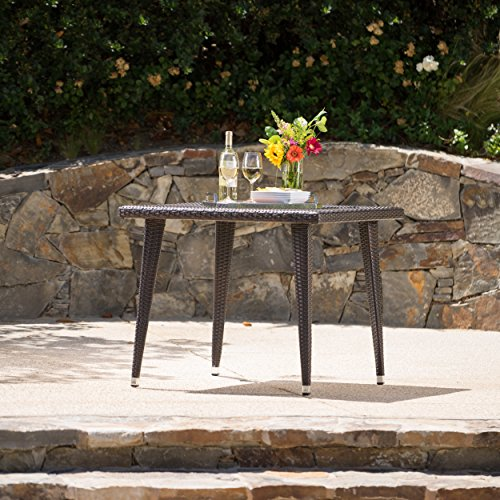 Christopher Knight Home Andrea Outdoor Wicker 36 Inch Dining Table with Aluminum Frame (Multi-Brown)