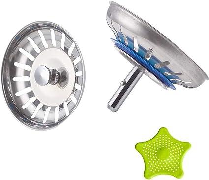 Leepesx Filtro per lavello da Cucina Filtro per Filtro di Scarico in Acciaio Inossidabile con Bordo Largo 4,33 Pollici per lavelli da Cucina
