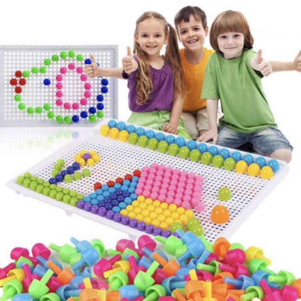Mallalah Mosa/ïque Puzzle Jouet Bloc Jeux de Construction Jigsaw 3D Clous de Champignon Color/ées Cr/éatif DIY Brique Jouet Educatif Cadeau Anniversaire No/ël pour Enfant 3 Ans et Plus