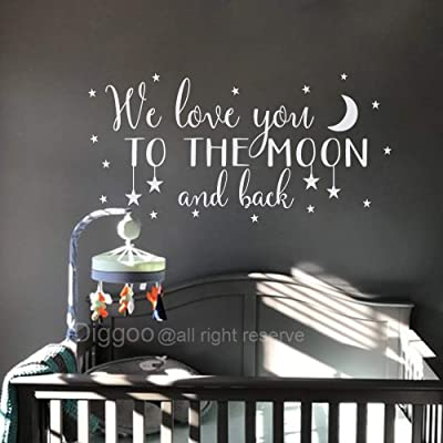 "Nursery Wall Decal We Love You to The Moon and Back Wall Decal Children's Room Decor Moon and Stars Wall Sticker (White,25"" h x 50"" w): Home & Kitchen"
