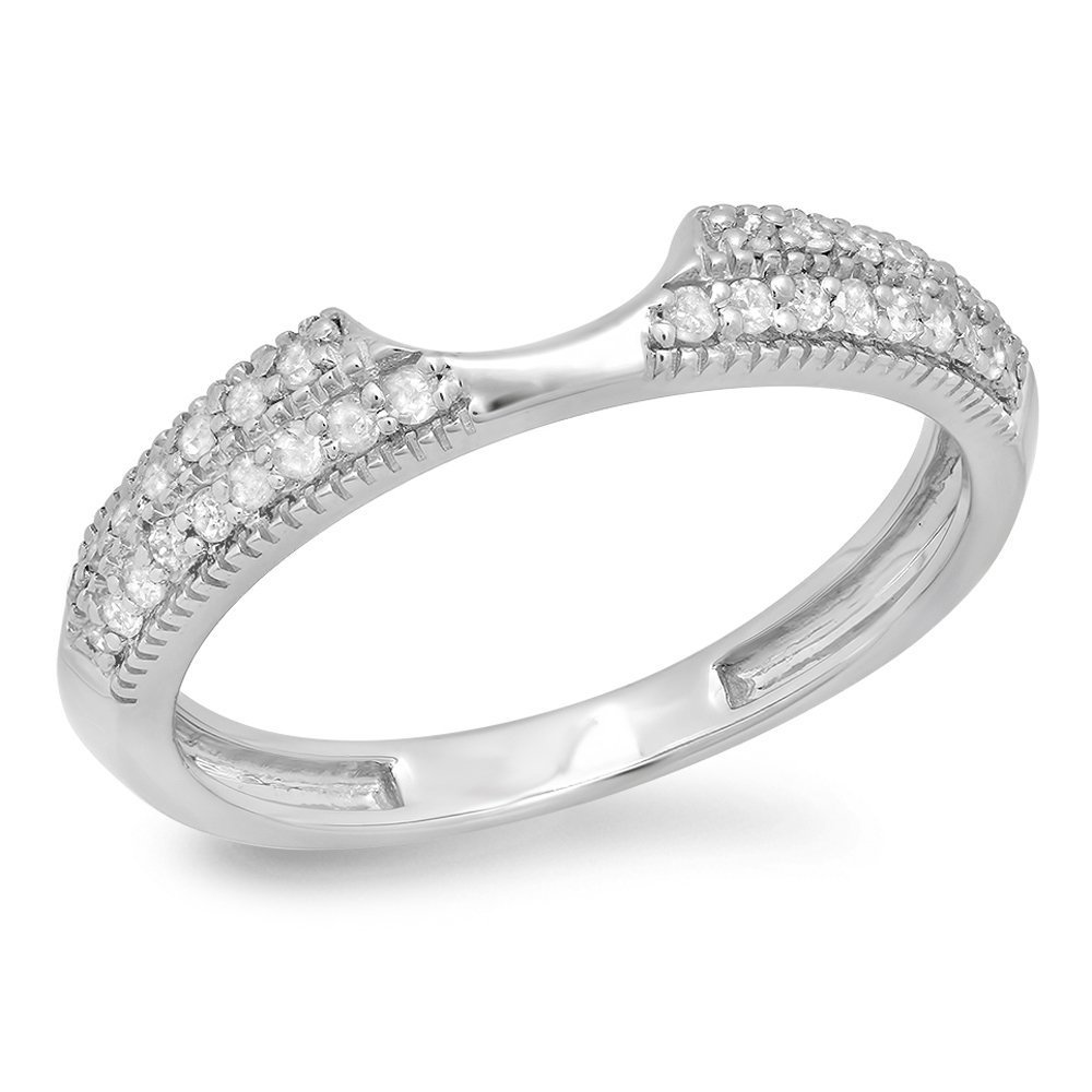 Dazzlingrock Collection 0.25 Carat (ctw) 14K Round Diamond Ladies Wedding Band Enhancer Guard Ring 1/4 CT, White Gold, Size 6