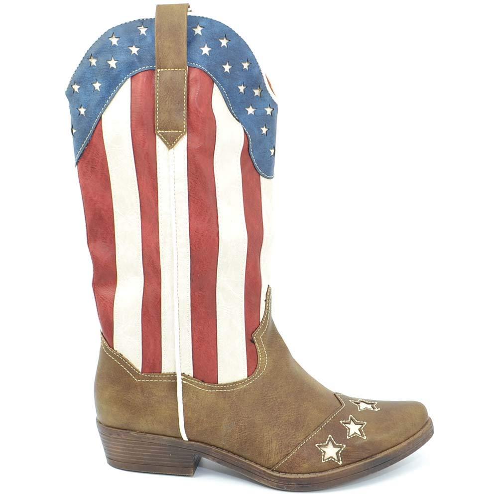 Stivali Donna camperos Texani Stile Western Marroni con Bandiera Americana Stile Vintage Altezza Polpaccio