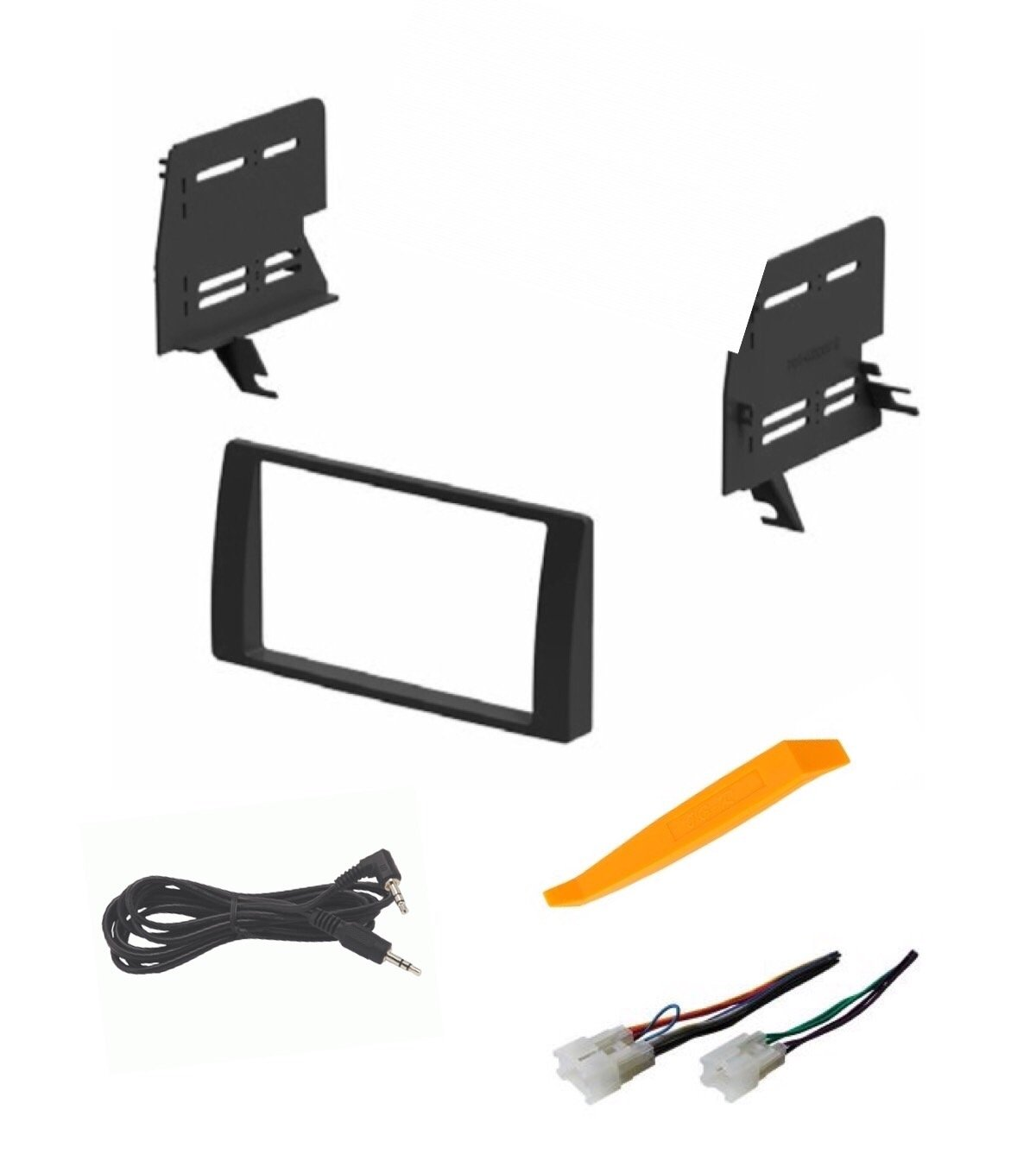 ASC Audio Car Stereo Dash Install Kit and Wire Harness for Installing an Aftermarket Double Din Radio for 2002 2003 2004 2005 2006 Toyota Camry - No Factory Premium Amp - No Factory NAV