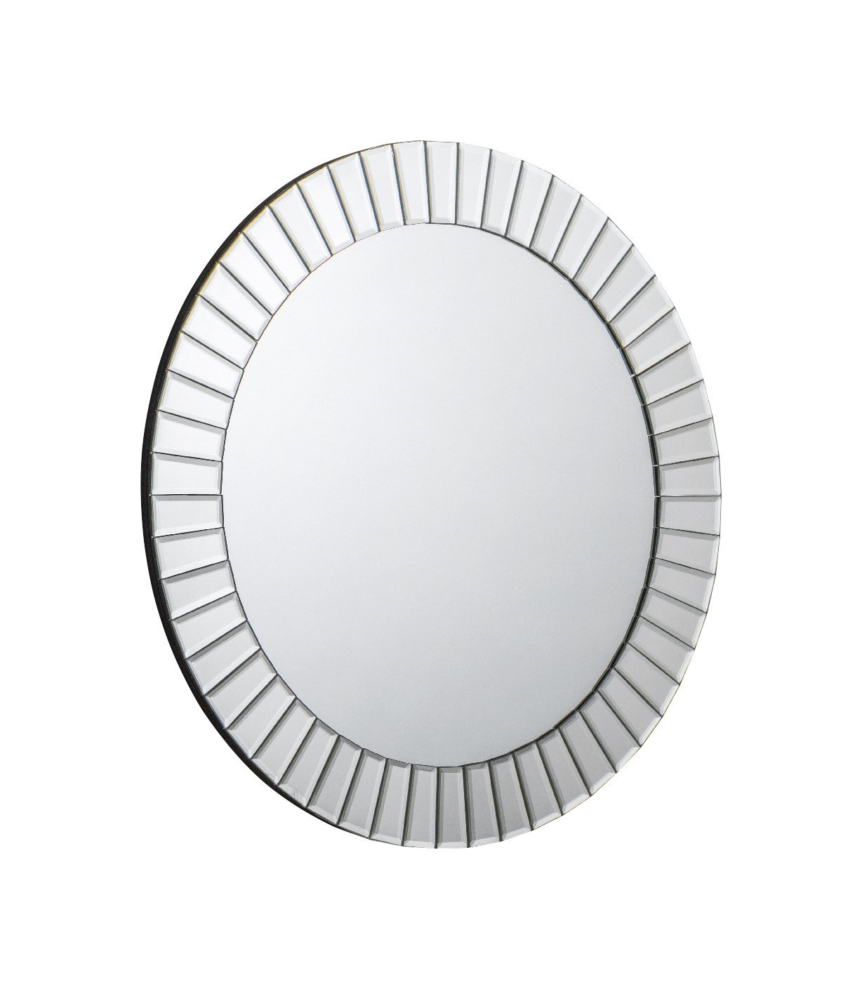 Julian Bowen MIR005 Sonata Round Wall Hanging Dress Mirror, Hardwood, Bevelled Glass - SIlver