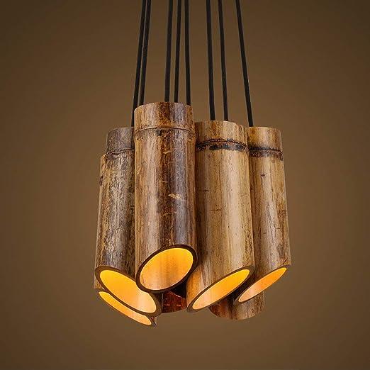 Rústico Colgante lámpara bambú diseño colgante lámpara foco ...