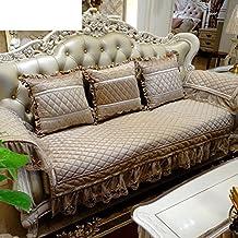 European-style Sofa Cushions,Fabric Padded Suede Sofa Set,American Luxury Leather Sofa Slip Cover Cushion Chaise Longue-A 85x160cm(33x63inch)