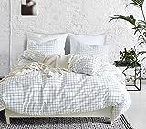 Elephant Soft Duvet Cover Set, Premium Microfiber, Grid Pattern On Comforter Cover-3pcs:1x Duvet Cover 2x Pillowshams,with Zipper Closure (Full/Queen)