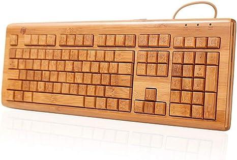 WPCBAA 108 Teclas Toda la Madera de bambú USB Manual de ...