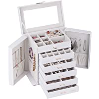 Large Jewellery Box Watch Beads Bracelets Rings Earrings Pins Cufflinks Storage Display Case 231 (White)