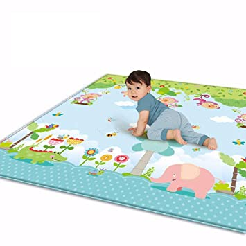 Krabbelmatte 200 * 180 * 1cm Spielmatte mit Tier Doppelseitige Wasserdichte Kinderteppich Zusammenfaltbare Baby Gym Gr/ün