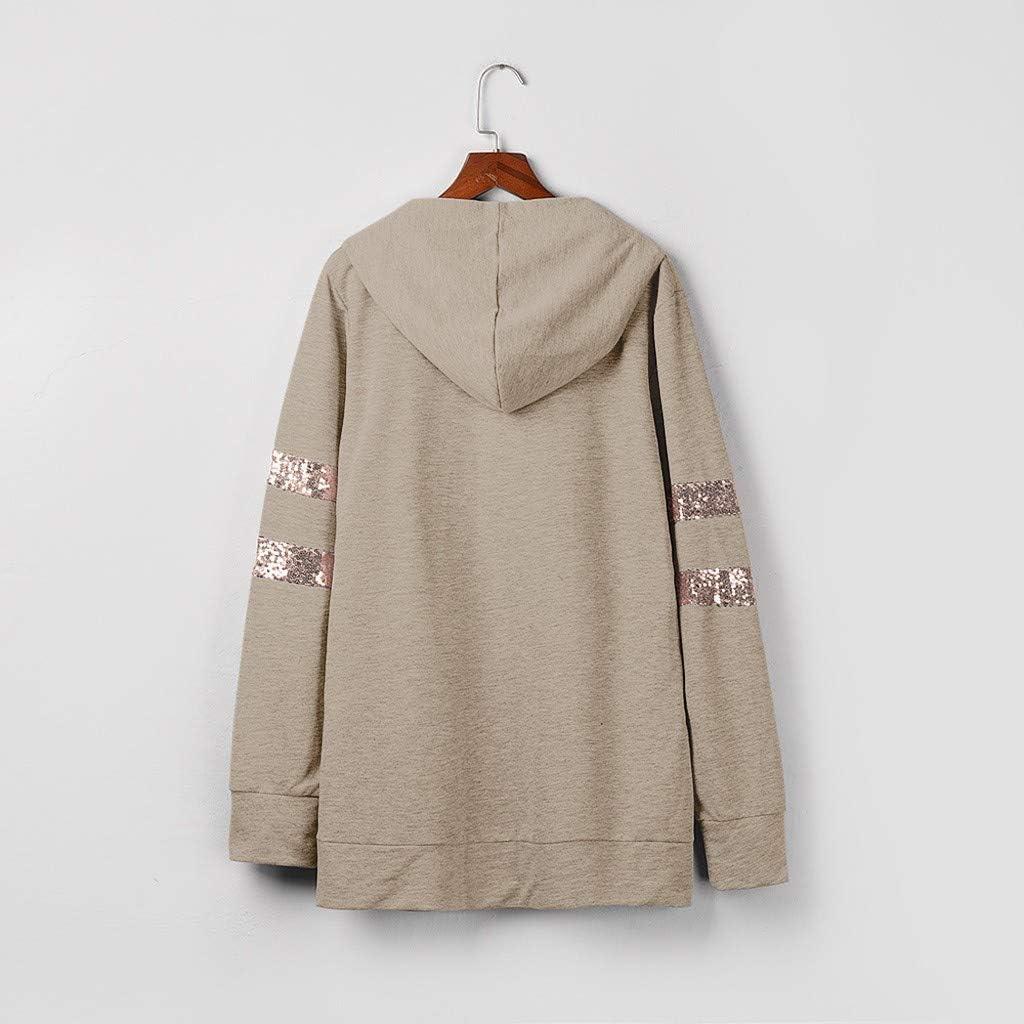 Eoeth Women Leisure Hooded Sweatshirts Sequins Pocket Striped Long Sleeve Splicing Pullover Hoodie Tops Blouse Shirts