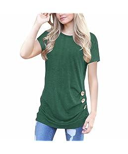 Blusa con Botones Flojos de Manga Corta para Mujer Blusa con Cuello Redondo de Colores sólidos Manga Larga con Capucha Camiseta Mezcla de algodón Cuello en V Chaleco Blusa (XL, Verde)