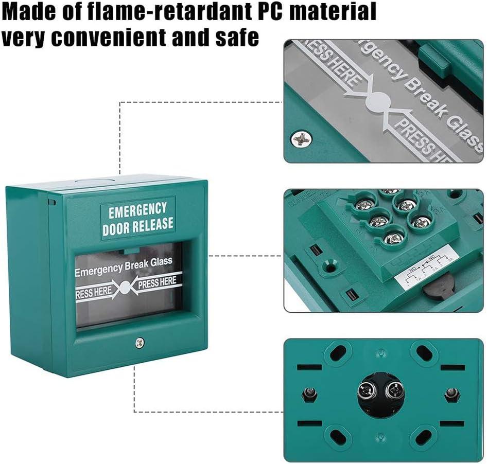 Bot/ón de Alarma de Apertura de Puerta de Emergencia Bot/ón de Alarma de Alarma de Incendio Interruptor de Apertura de Salida de Vidrio de ruptura de Vidrio