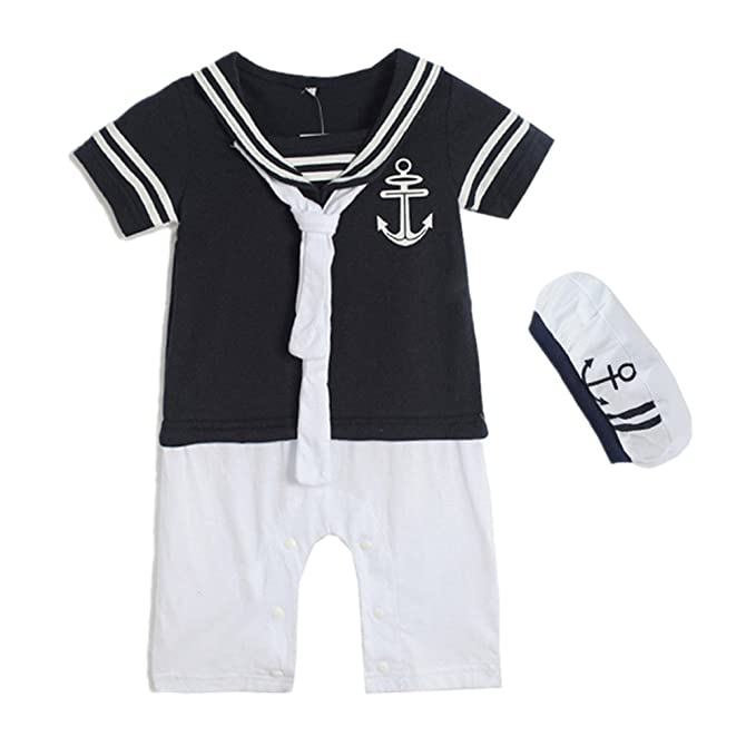 1930s Childrens Fashion: Girls, Boys, Toddler, Baby Costumes Baby Boys Sailor Summer Romper With Cap  AT vintagedancer.com