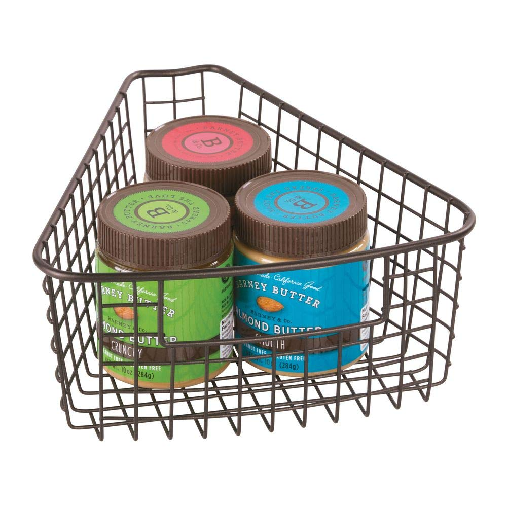 4.2 Deep Container 4 Pack Small Pie-Shaped 1//8 Wedge 4 Pack Bronze MetroDecor 6768MDK Bronze 4.2 Deep Container mDesign Farmhouse Metal Kitchen Cabinet Lazy Susan Storage Organizer Basket with Front Handle