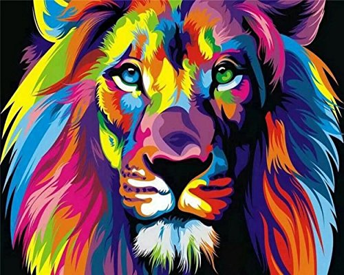 Tonzom Paint By Number Kits 16 x 20 inch Canvas Diy Oil Painting for Kids, Students, Adults Beginner with Brushes and Acrylic Pigment – Neon Lion (Without Frame)