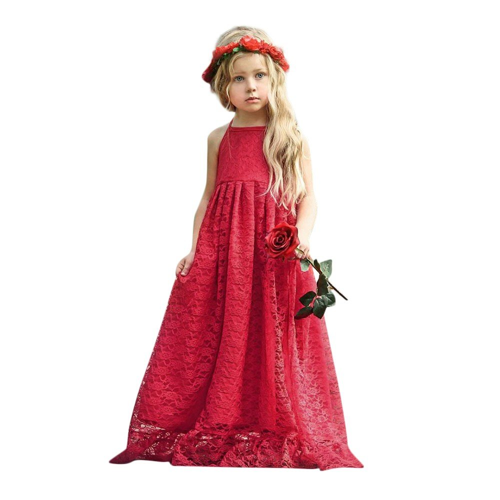 Little Big Girls Dresses Pleated Sleeveless Halter Solid Lace Print Pageant Long Skirt (24M, Red)