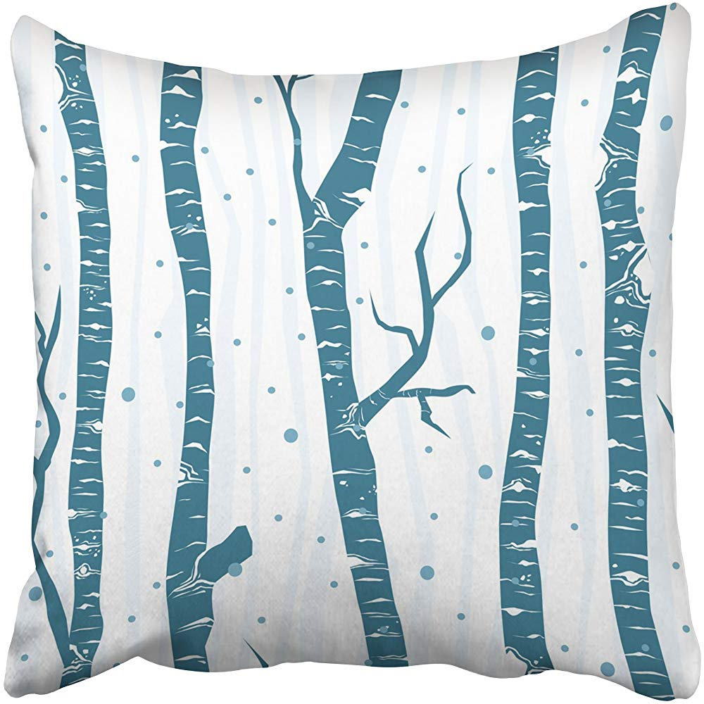 Starogs Throw Pillow Cover 18''X18'' Polyester Blue Border Birch Trees Pattern Flat Minimalistic Design White Silhouette Wood Bosk Decorative Pillowcase Two Sides Deco for Home