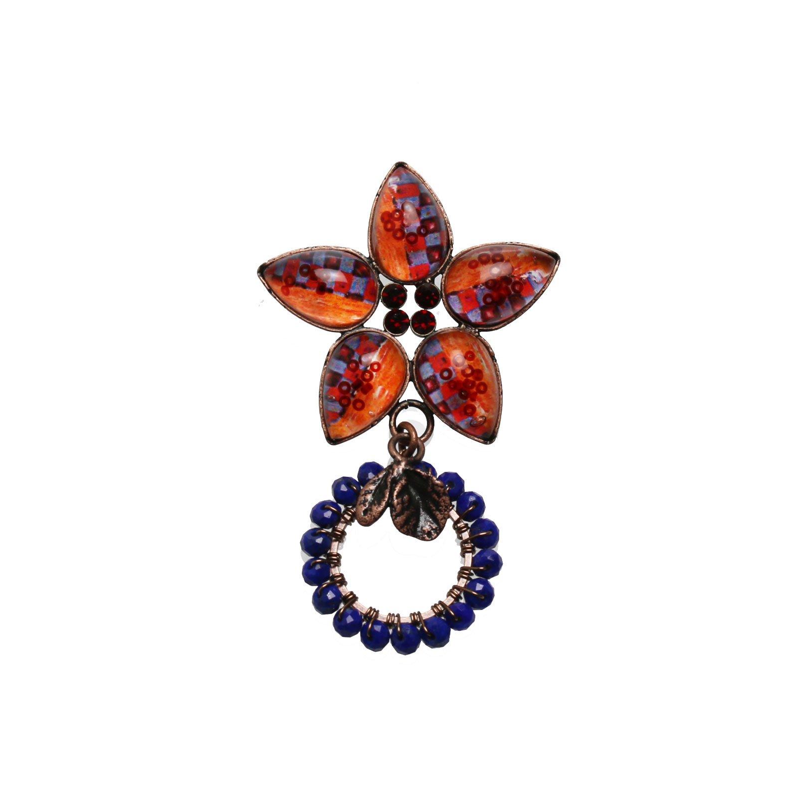 Tamarusan Glasses Holder Brooch Lapis Lazuli Orange Flower Blue