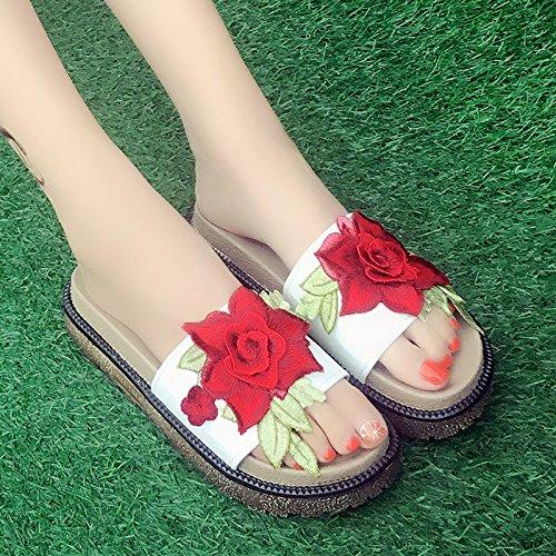 RUGAI-UE Flores fuera Cool zapatillas zapatos de moda de verano zapatillas comodidad calzado de playa White