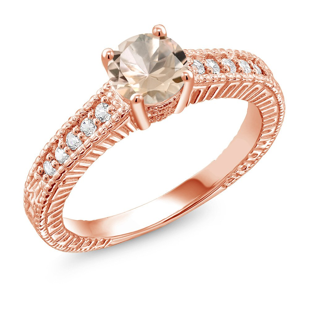 0.75 Ct Round Peach Morganite 18K Rose Gold Plated Silver Ring (Size 8)