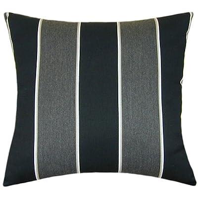 TPO Design Sunbrella Peyton Granite Indoor/Outdoor Striped Pillow 20x20: Home & Kitchen