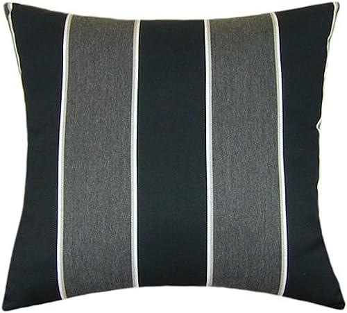 Sunbrella Peyton Granite Indoor/Outdoor Striped Pillow 20×20