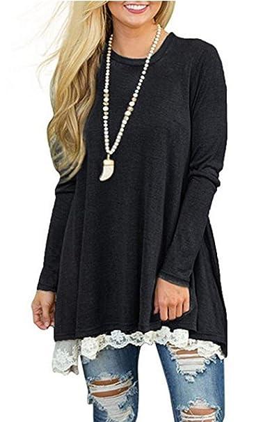 72aafe108e7 Womens Fall Winter Swing Casual A Line Dress Long Sleeve Lace Tunic T-Shirt  Dress