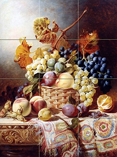 #2 Still Life with Basket of Fruit on a Table with a Rug by William Duffield Tile Mural Kitchen Bathroom Wall Backsplash Behind Stove Range Sink Splashback by FlekmanArt