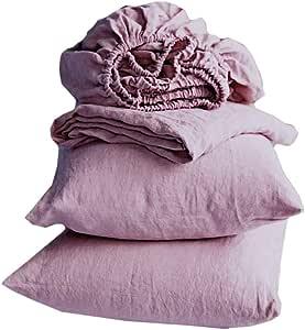 Merryfeel Linen Sheet Set,Luxurious 100% Pure French Linen Bedding Sheet Set,Deep Pocket - Queen Mauve