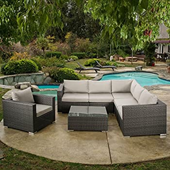 Great Deal Furniture Francisco Outdoor 7 Piece Grey Wicker Seating  Sectional Set With Sunbrella Cushions