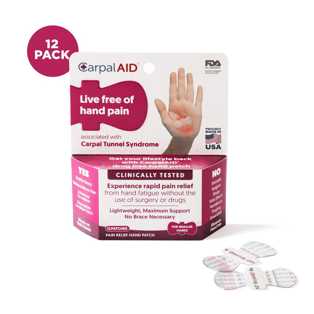 CarpalAID - Clinically Tested Hand Patch for Relief of Symptoms of Carpal Tunnel Syndrome - Non-Invasive - Risk-Free - Fast Results - Comfortable - Disposable - Drug-Free (12 Count, Small Hand) by CarpalAID