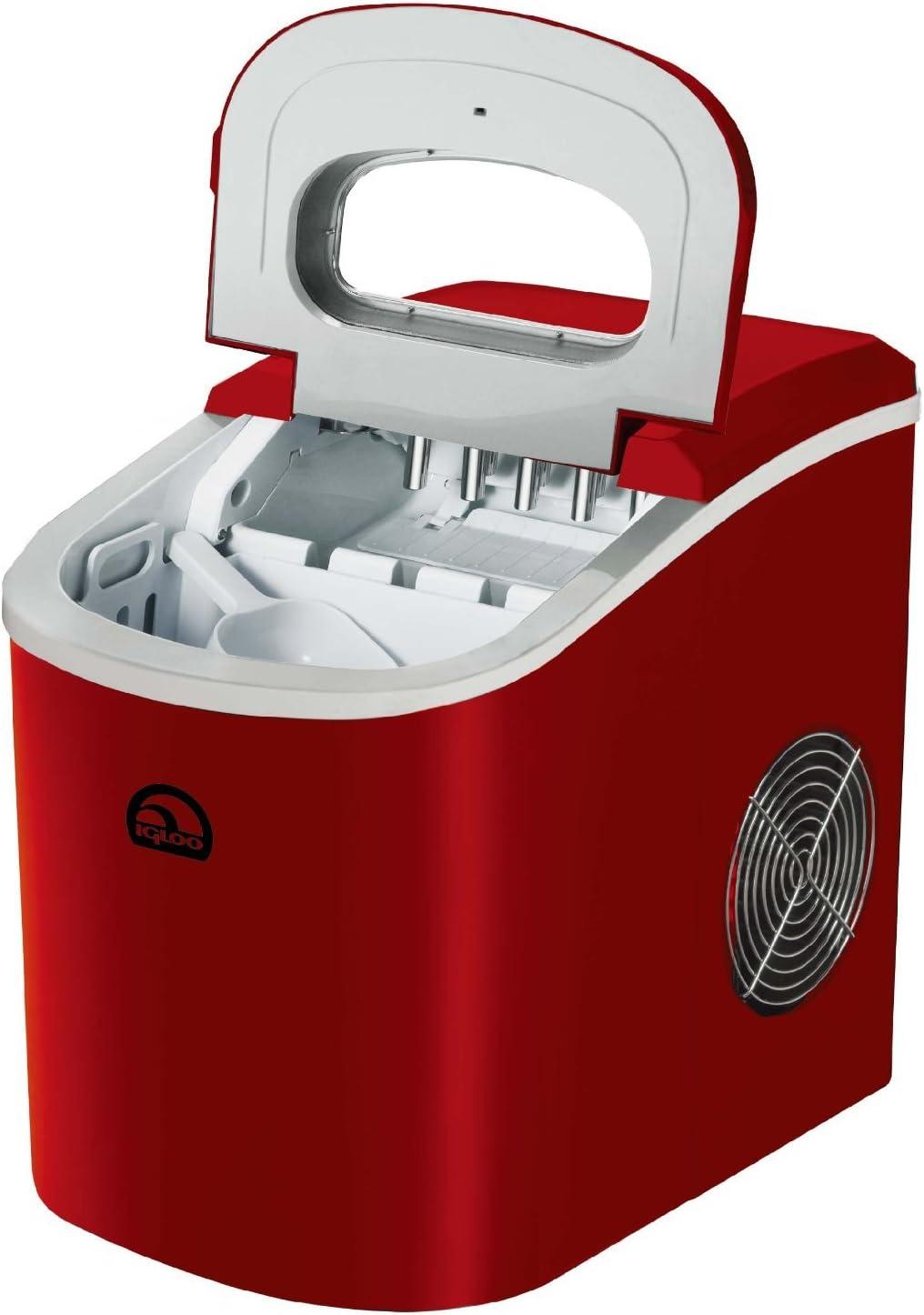 iGloo ICE102-Red Compact Ice Maker Renewed Red