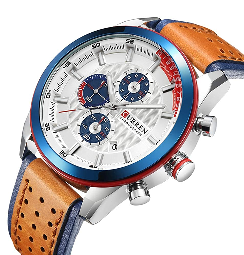 Mens Military Sport Watches Leather Strap Date Multi-Function Wristwatch
