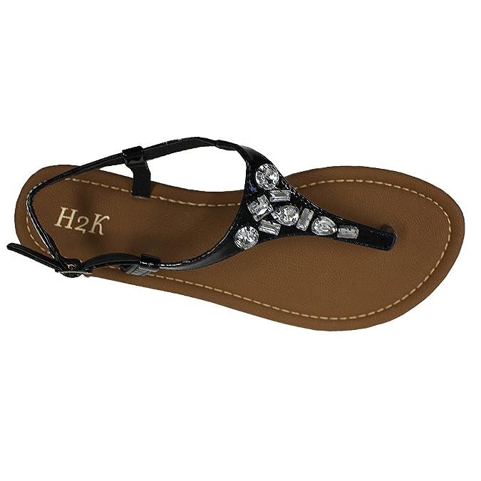 954b2b5380d4b H2K 'Diana' Women's Rhinestone Flip-Flop [Thong Sandal] Comfortable Flat  Slipper with Ankle Strap