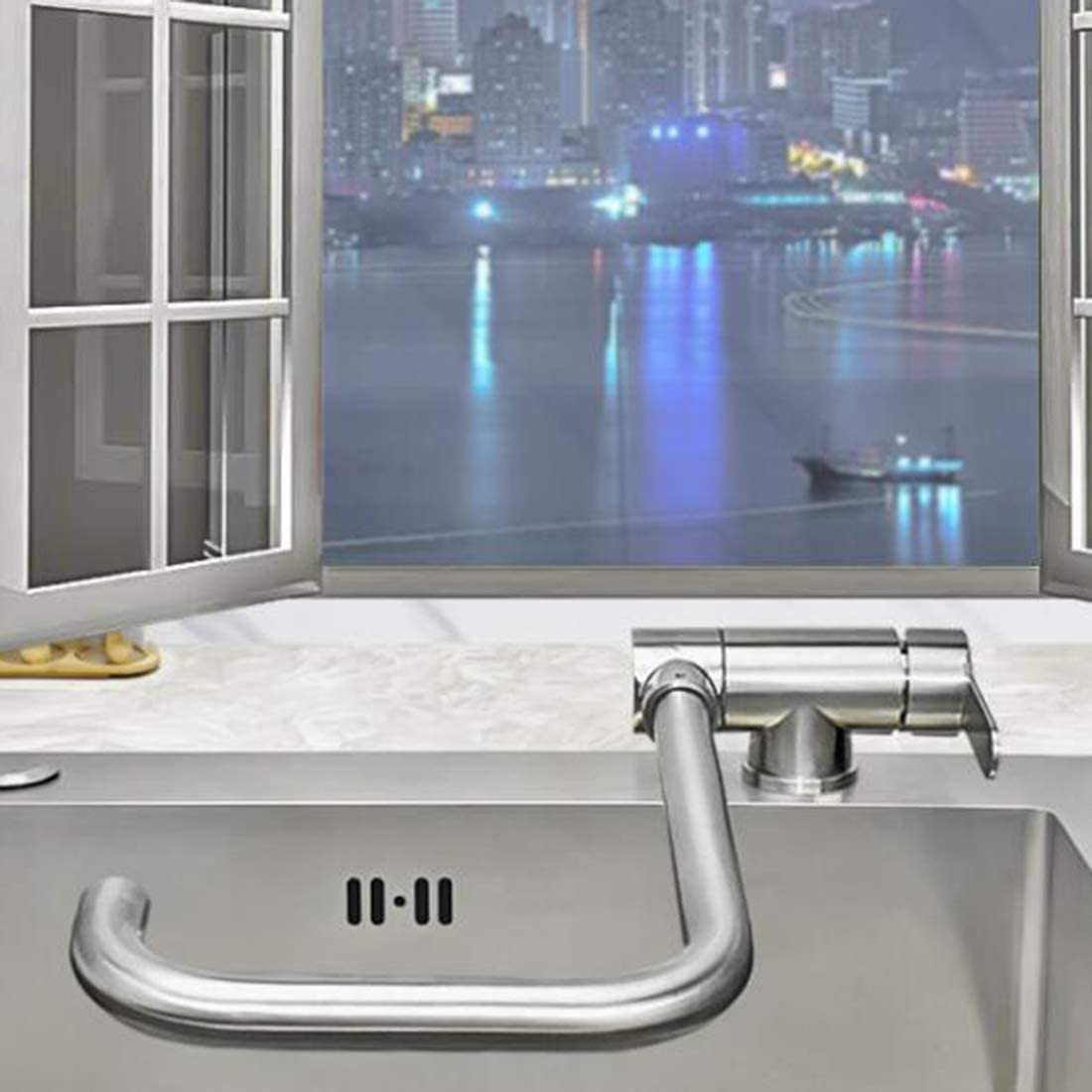 304 Stainless Steel Kitchen Without Window Taps Sink Sink dishwashing dishwashing Basin Pool Folding Inner Window revolving Window Taps@Black Seven-Tube Open Window