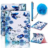 Galaxy Tab E 9.6 Inch Case,Vandot Auto Wake/Sleep Magnetic Stand Wallet Case Flip Folio Cover for Samsung Galaxy Tab E 9.6 Inch SM-T560 T561+POMPOM+SCREEN STYLUS TOUCH PEN-BlUE FLOWER BUTTERFLY